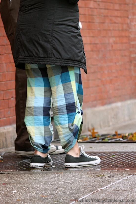 hurricane sandy street style plaid pants