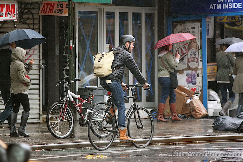 hurricane sandy street style ll bean boots and bike