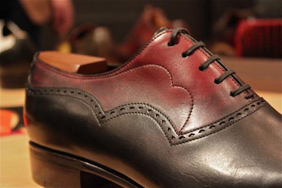 corthay burgundy and black shoe