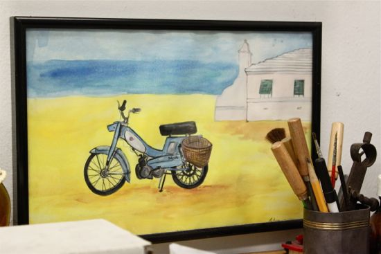Robin rotenier moped painting