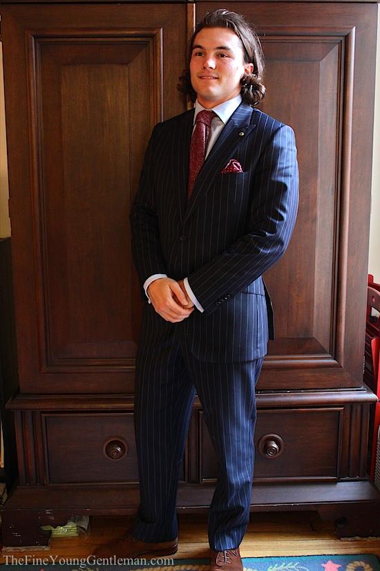 pinstipe suit and winter tie