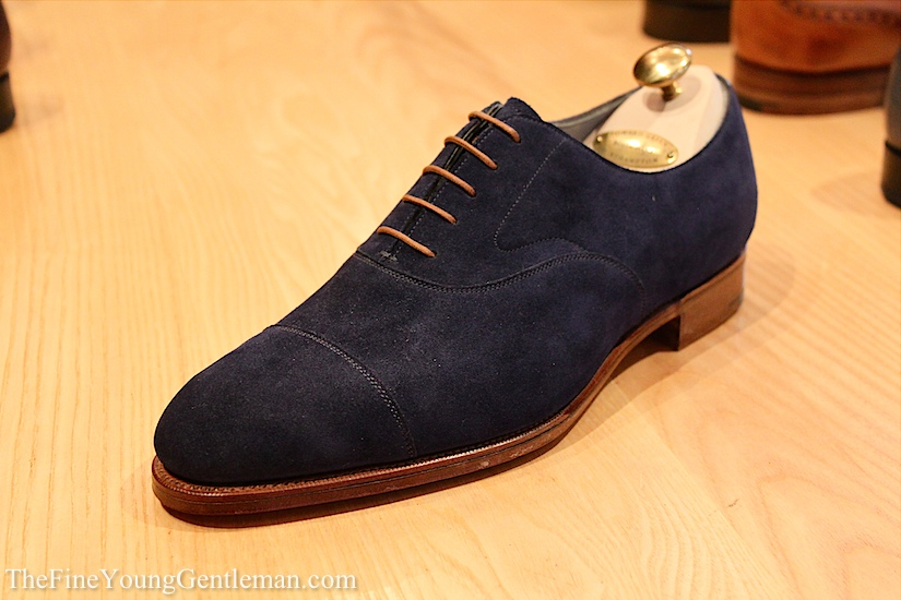 edward green blue suede shoe