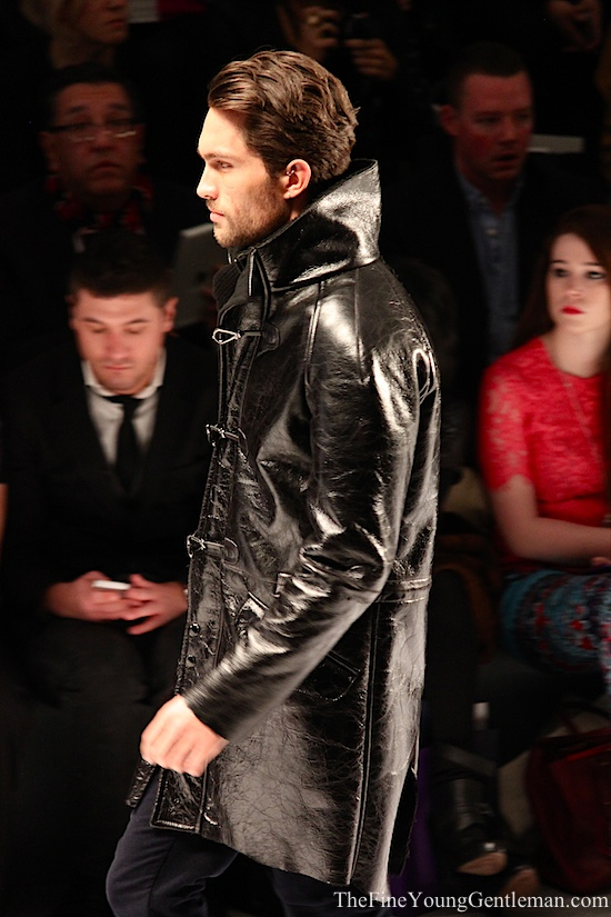 nautica shiny leather toggle coat