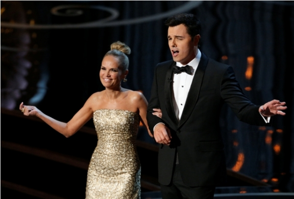 Seth Macfarlane started the night in a notch lapeled mishap and ended it in this shawl collared gem.