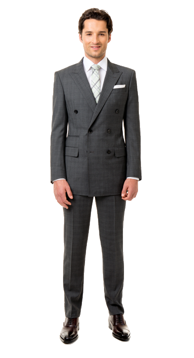 black lapel double breasted suit