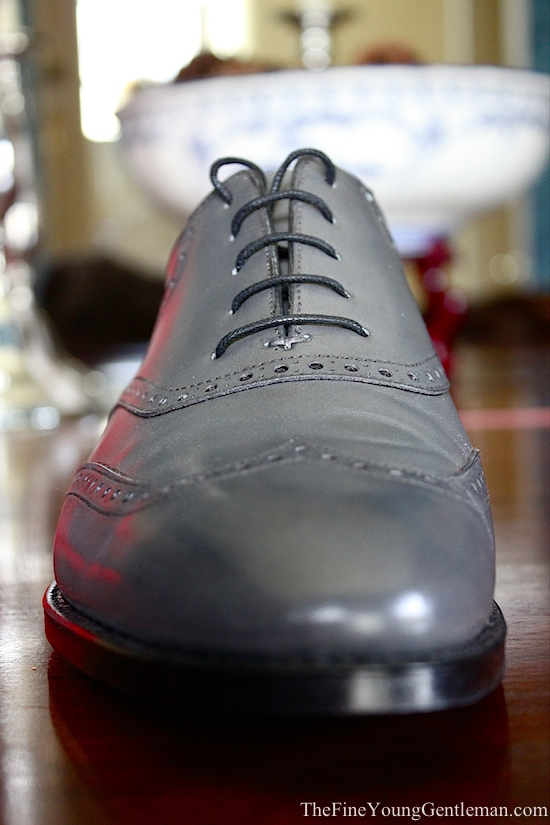 gray leather shoe