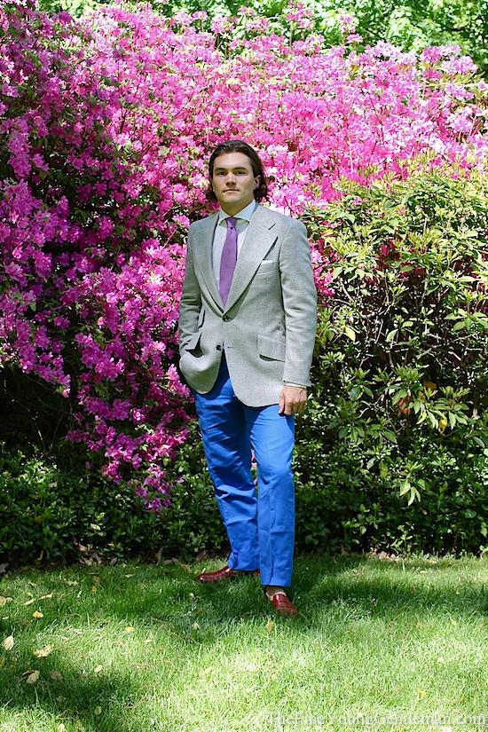 blue linen pants