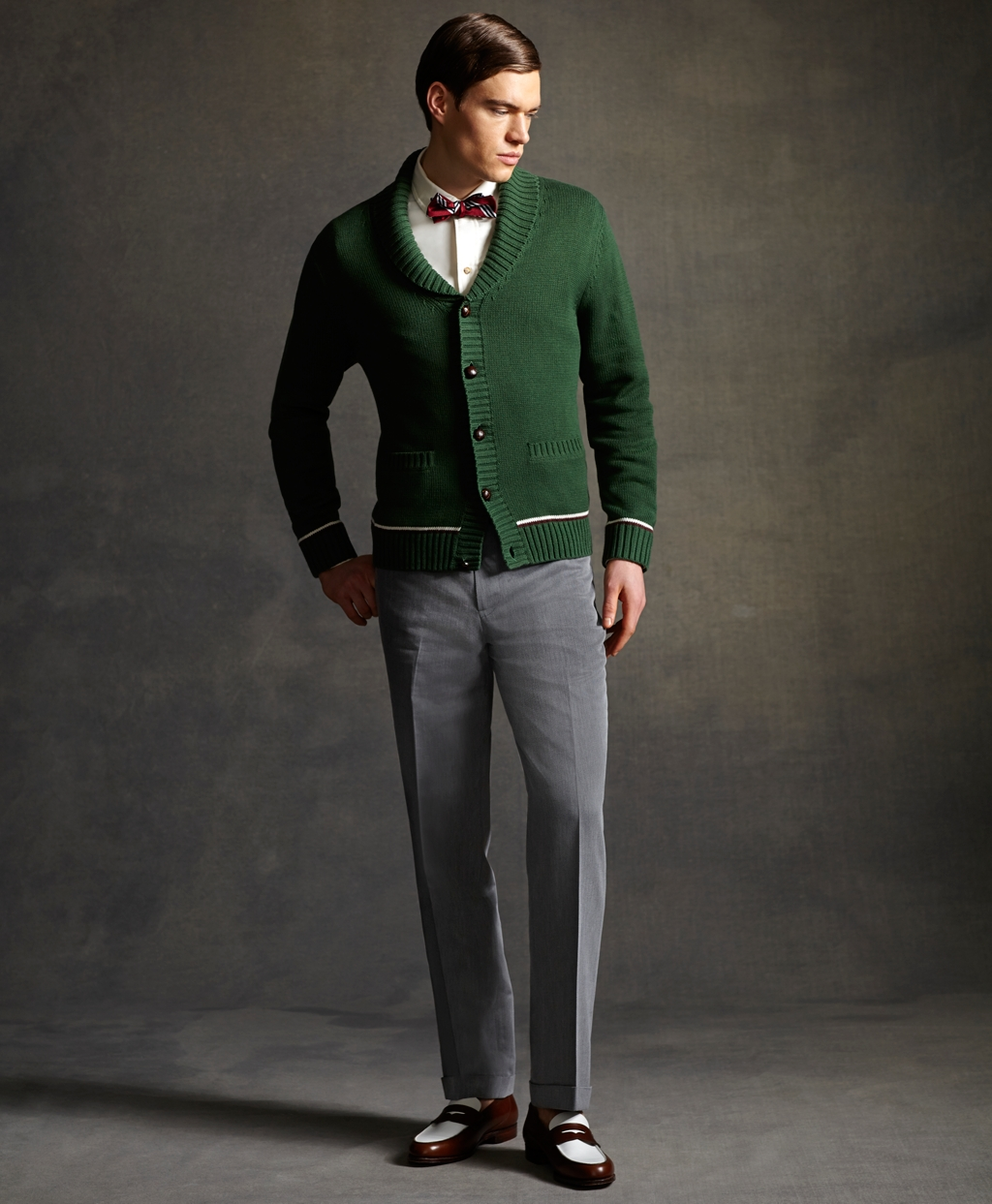 brooks brothers great gatsby green cardigan