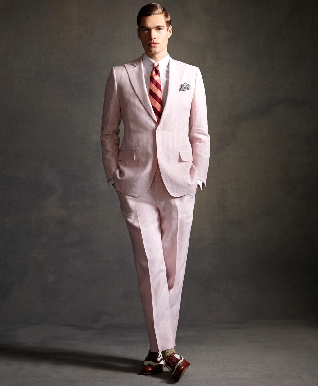 brooks brothers great gatsby pink linen suit