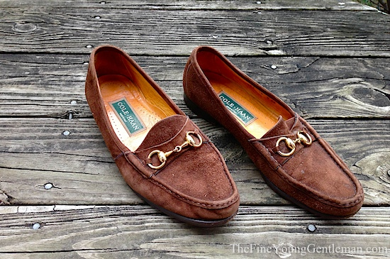 brown suede bit loafers