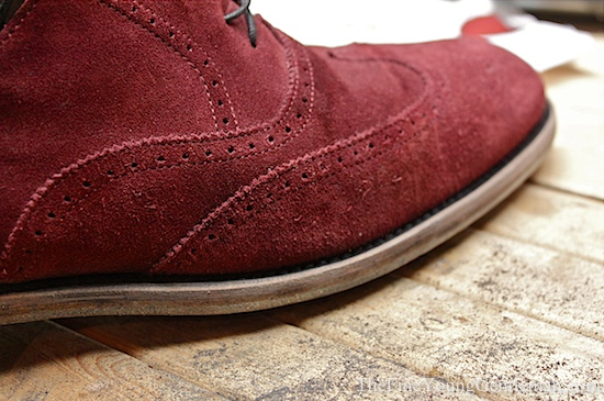 burgundy suede wingtip shoes
