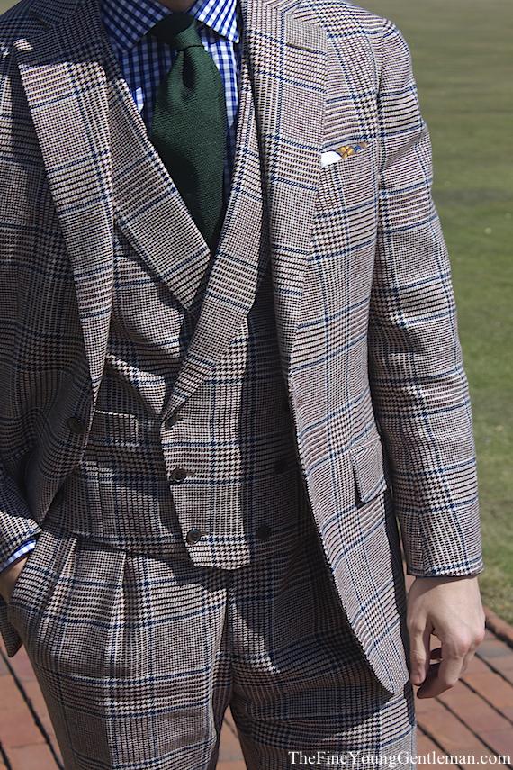 tweed prince of wales 3 piece suit