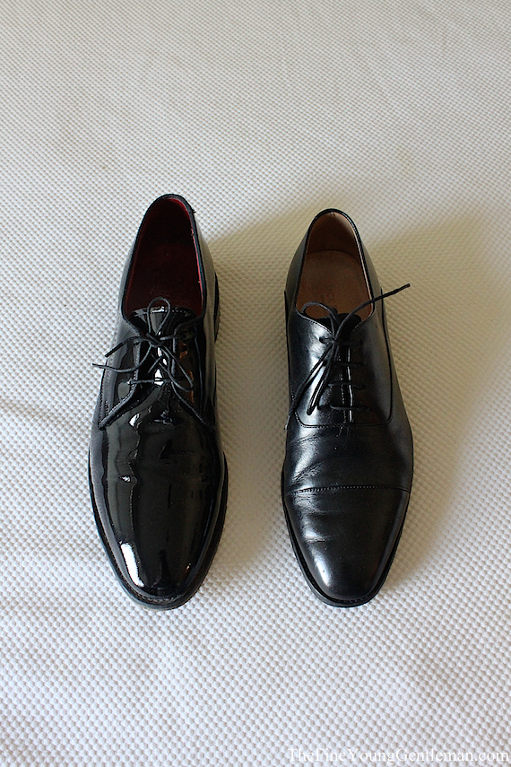 what shoes to wear with a tuxedo velvet slippers patent leather
