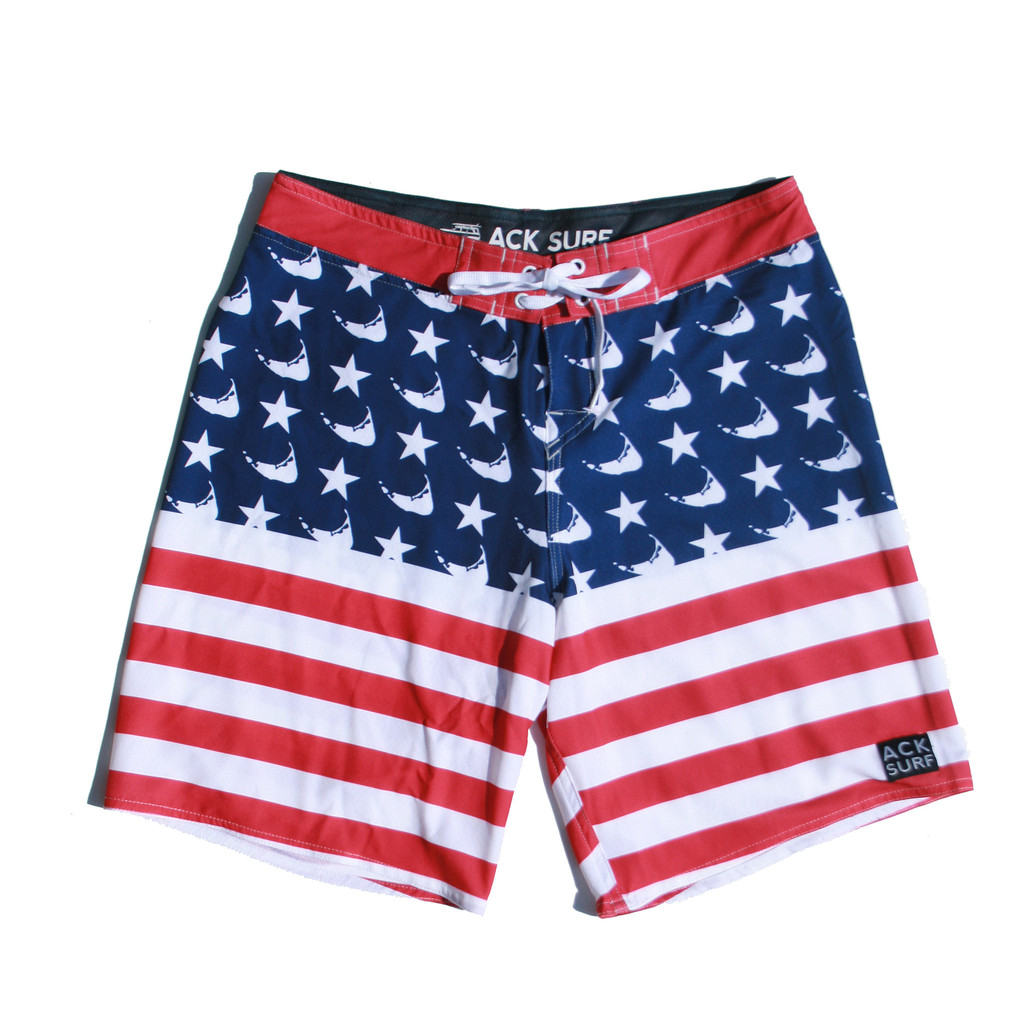 ack surf american flag board shorts