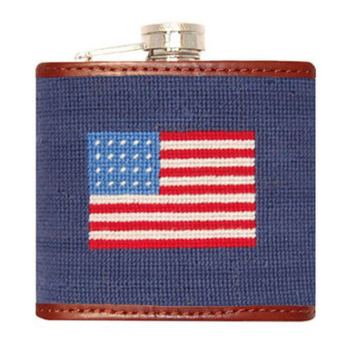smathers and branson american flag needlepoint flask