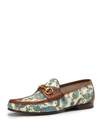 gucci roos paisley bit loafer