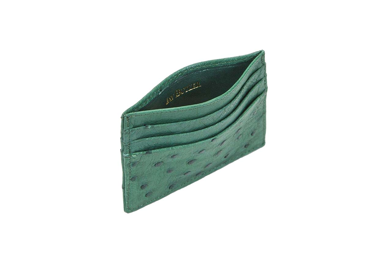 jay butler green ostrich leather card case wallet