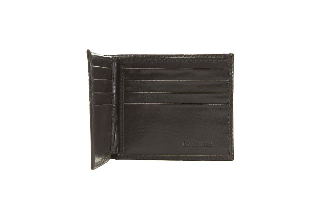 jay butler mens brown calf leather bifold wallet open