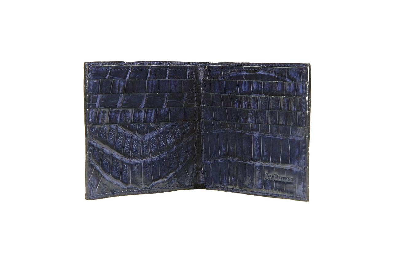 jay butler mens navy blue crocodile leather bifold wallet inside