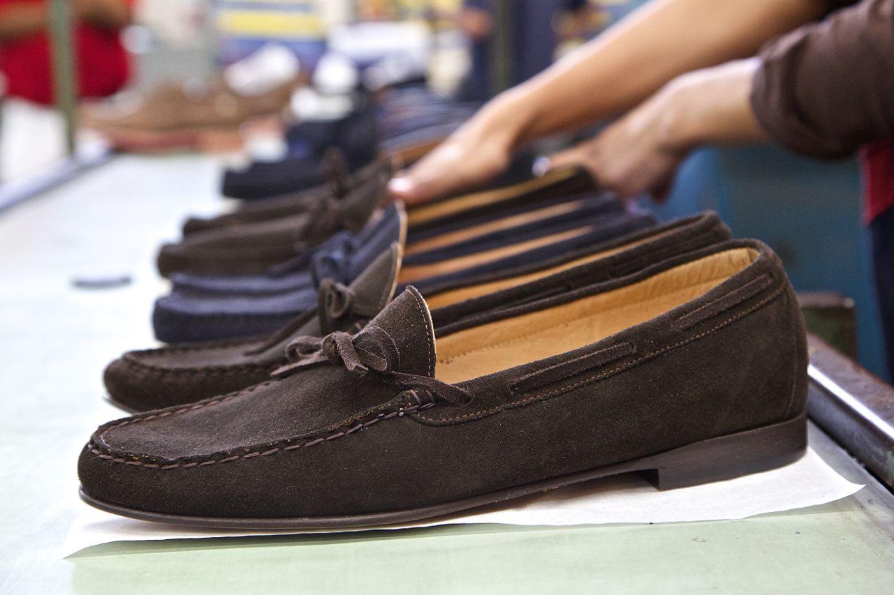 brown suede tie loafers in factory line - jay butler