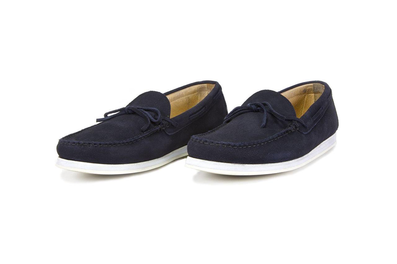 jay butler navy blue suede tie driving loafer sample