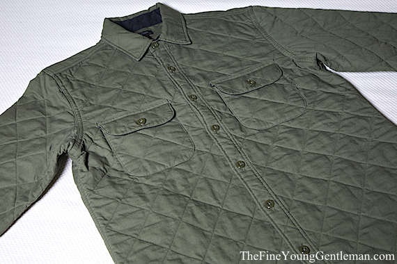 olive green quilted shirt j crew