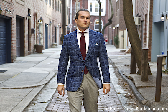 knot standard tweed windowpane jacket