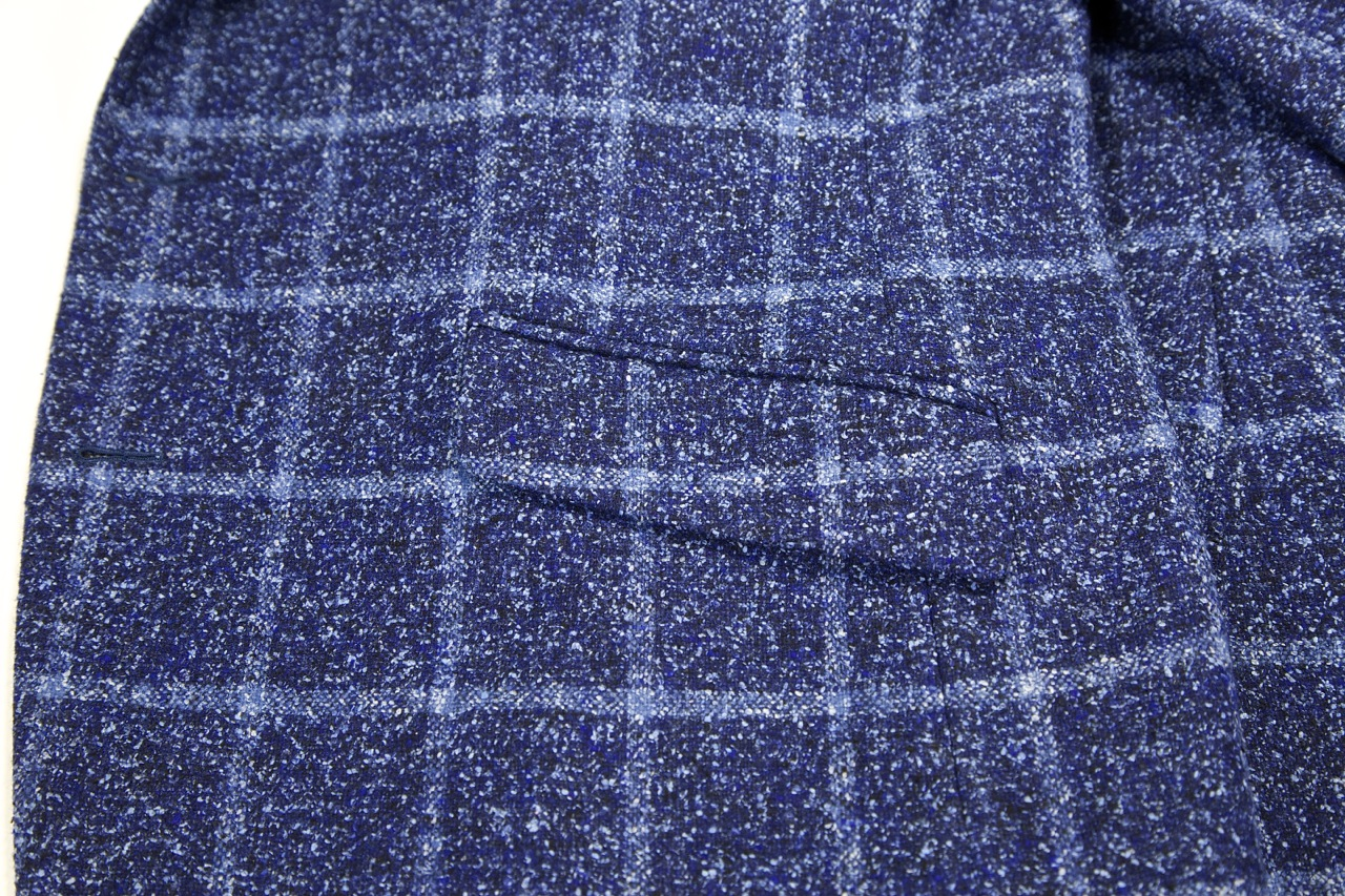 ariston blue windowpane tweed fabric