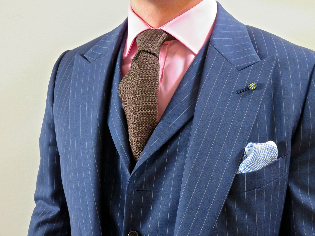 david fin ties brown grenadine tie and blue pinstripe suit