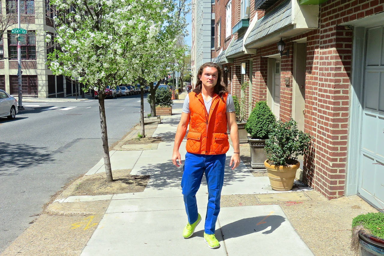 spring layering orange vest