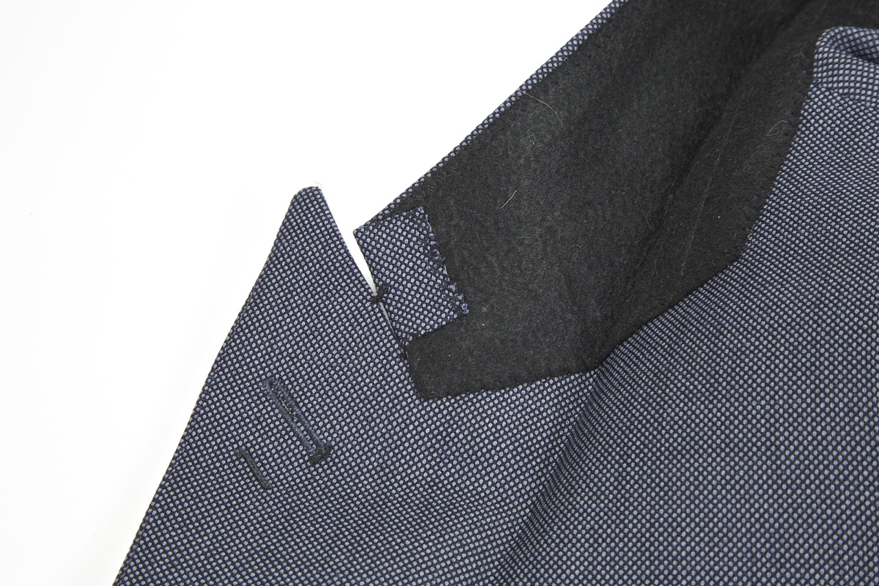 black lapel collar underside