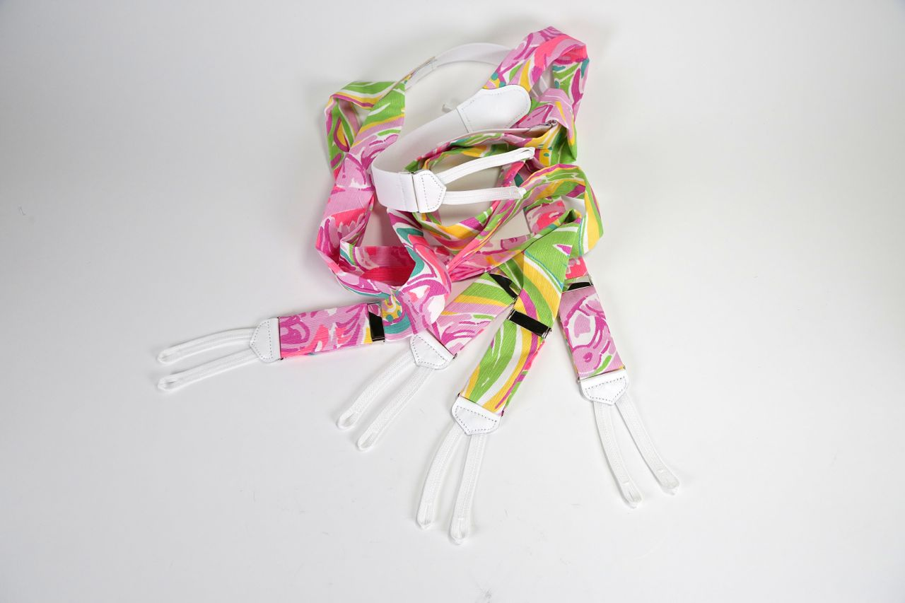 lilly pulitzer pink and green suspenders