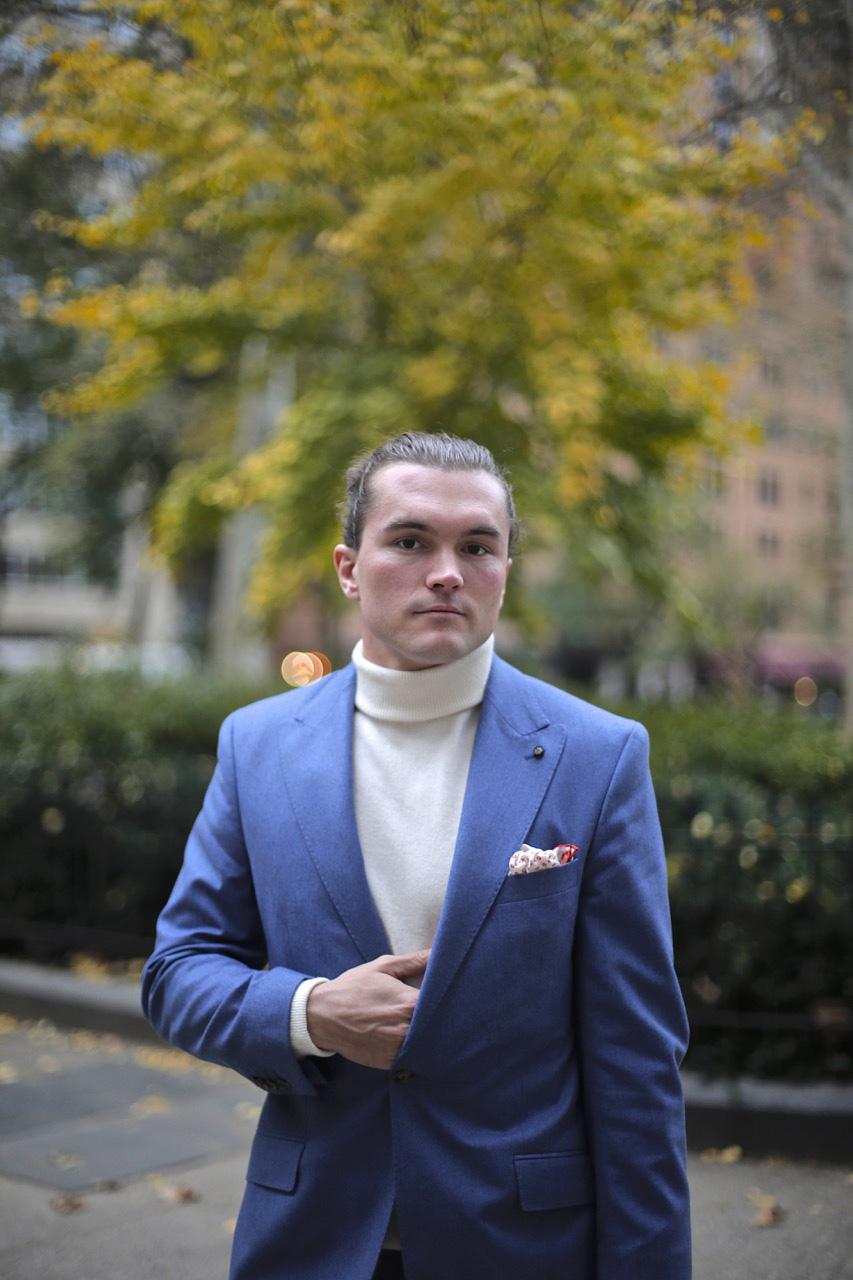 oliver wicks blue flannel suit