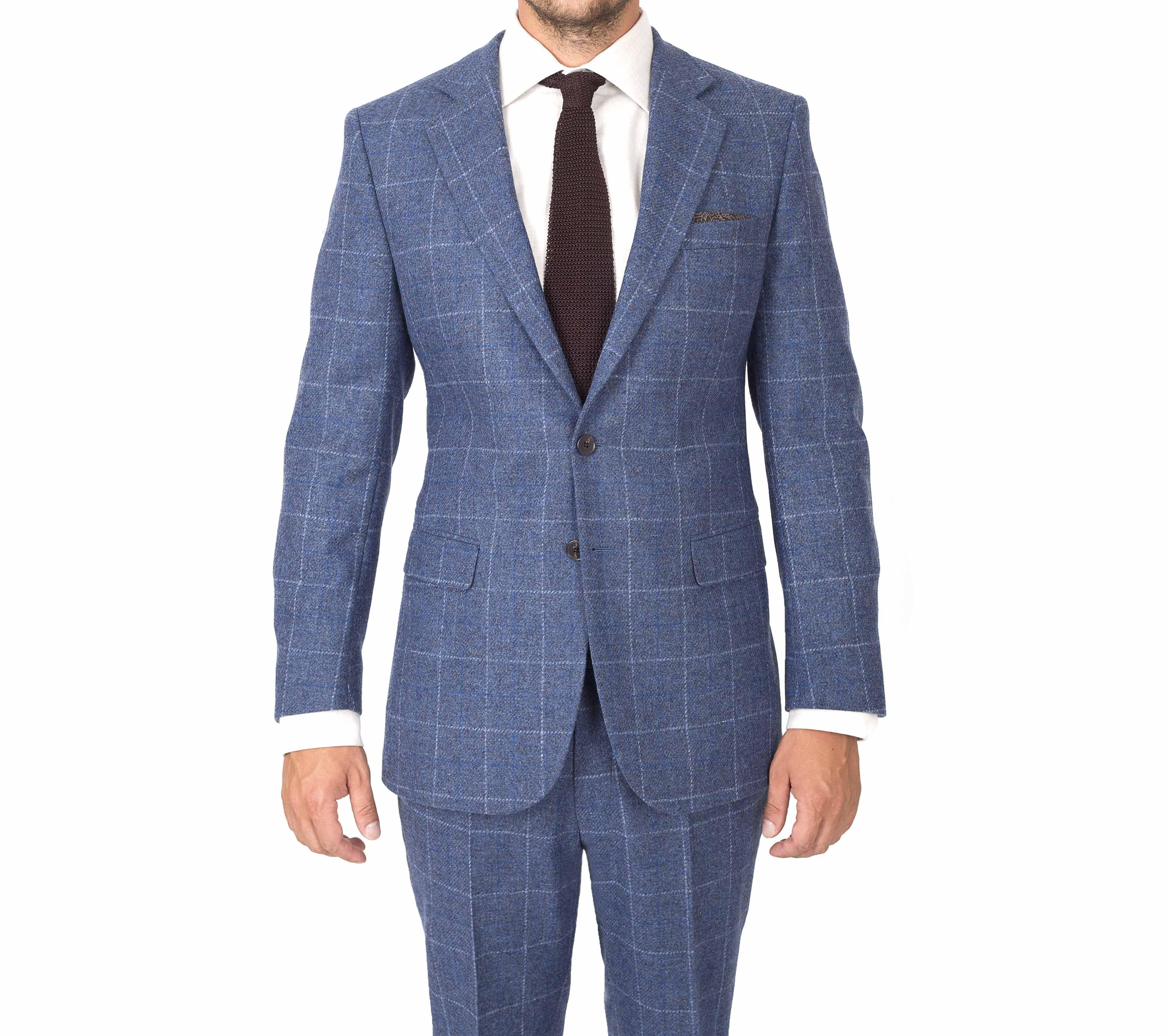 blue check shetland suit