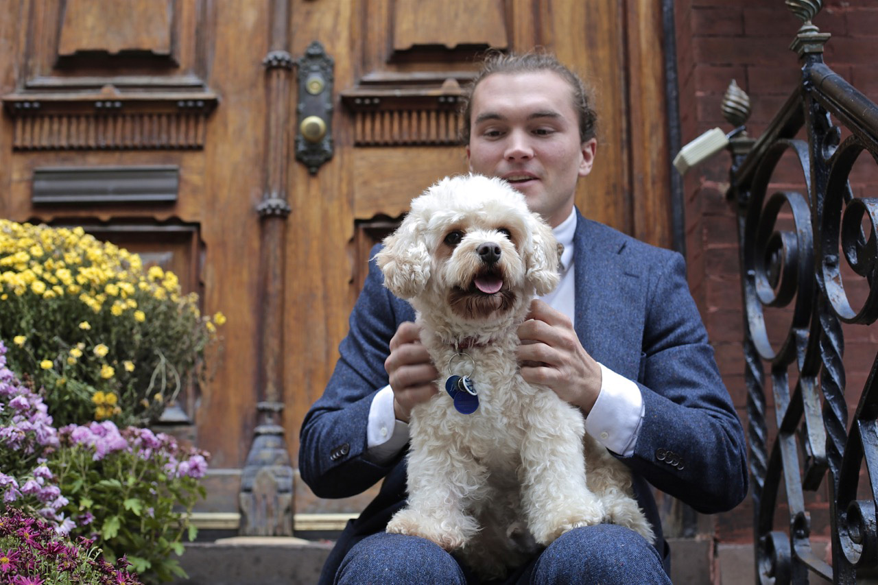 blue tweed suit and dog