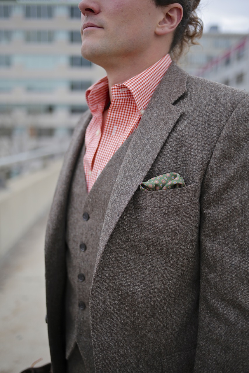 oliver wicks tweed suit and button down shirt
