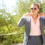 blue suit and pink oakey frogskins