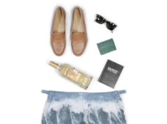 caramel penny loafer with orlebar brown surfers bathing suit sq