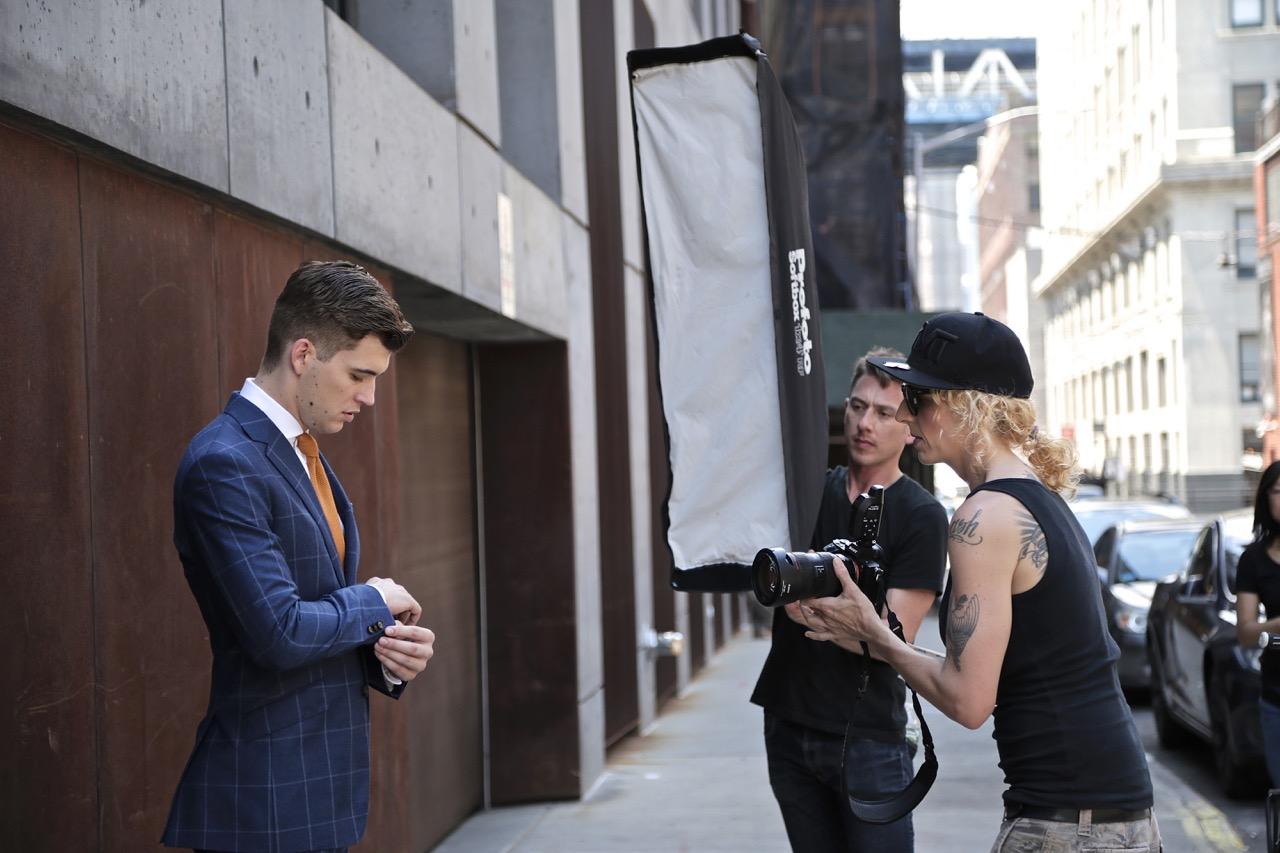 blue windowpane suit behind the scenes black lapel