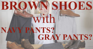 brown shoes with navy gray pants thumbnail