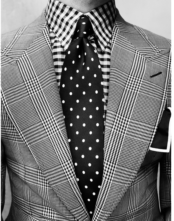 black and white plaid suit
