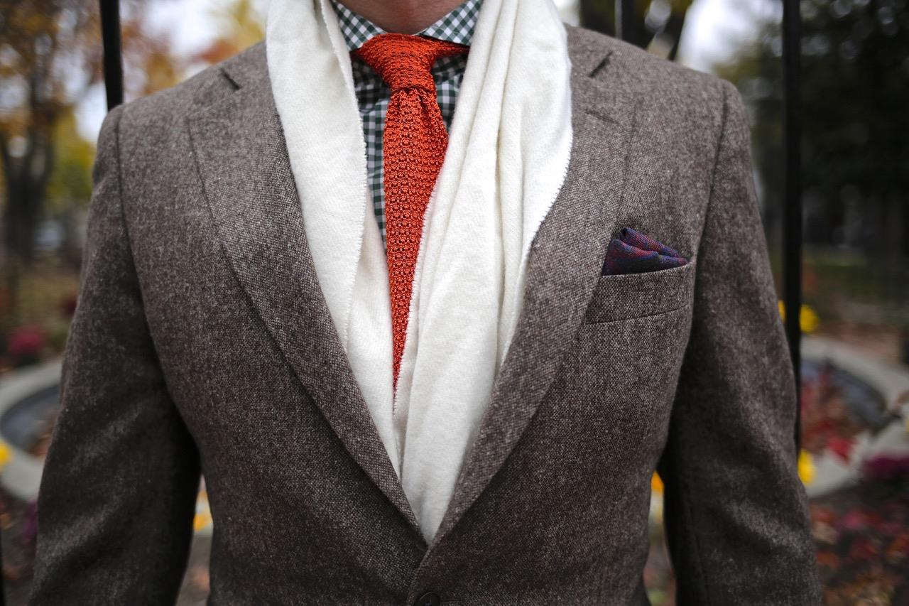 3 piece brown tweed suit