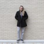 m gemi grey leather sneaker and fur collar coat